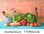cabbage heads with vegetables... | Shutterstock . vector #775906126