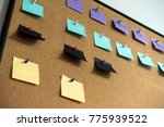 post notes pin on cork board | Shutterstock . vector #775939522
