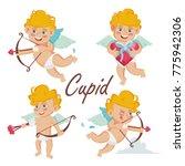 cupid set. cupids bow. cupid in ... | Shutterstock . vector #775942306
