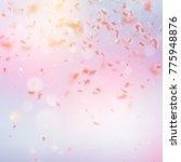 sakura flying downwind petals... | Shutterstock .eps vector #775948876