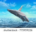 humpback whale jumping out of...   Shutterstock . vector #775959226