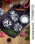 chocolate crinkle cookies... | Shutterstock . vector #775985722