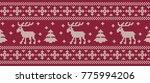 christmas background. knitted... | Shutterstock .eps vector #775994206