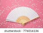 Small photo of Flower blossom folding folding fan background