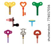 wind up key set cartoon...   Shutterstock .eps vector #776017036