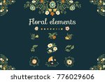trendy hand drawn set of floral ... | Shutterstock .eps vector #776029606