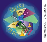 roller boy jumpimg  poster for... | Shutterstock .eps vector #776035546