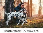 Stock photo dog walker with dalmatian dogs enjoying in park 776069575
