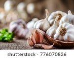 garlic close up  garlic bulb ...   Shutterstock . vector #776070826