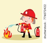cute little fire fighter in... | Shutterstock .eps vector #776072422