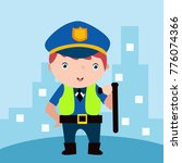 cute little police man in... | Shutterstock .eps vector #776074366