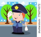 cute little police man in... | Shutterstock .eps vector #776074372