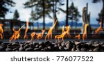 stone fire pit with flames and... | Shutterstock . vector #776077522