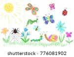 children's drawing of beetles... | Shutterstock .eps vector #776081902