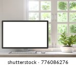 work desk located by the window ... | Shutterstock . vector #776086276