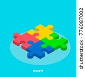 colorful puzzle on a blue... | Shutterstock .eps vector #776087002