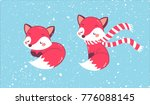 little set of two cute foxes... | Shutterstock .eps vector #776088145