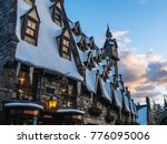 Snow Village At Sunset In...