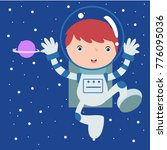 cute little astronaut kid in... | Shutterstock .eps vector #776095036