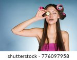 a funny young girl is going to... | Shutterstock . vector #776097958