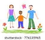 man and woman with adopted boy. ... | Shutterstock .eps vector #776135965