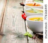 variety of cream soups   tomato ... | Shutterstock . vector #776166445