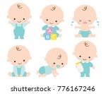 Stock vector cute baby or toddler boy vector illustration in various poses such as standing sitting crying 776167246