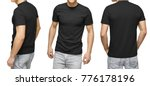 Young Male In Blank Black T...