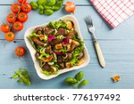 warm salad with grilled chicken ... | Shutterstock . vector #776197492
