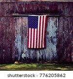 american barn door on the... | Shutterstock . vector #776205862