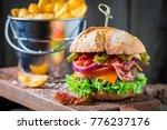 closeup of fresh burger with... | Shutterstock . vector #776237176
