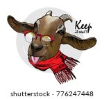 Vector Goat With Red Glasses...