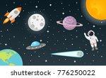 space with moon  sun  rocket ... | Shutterstock .eps vector #776250022