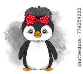 lovely penguin girl with bow on ... | Shutterstock .eps vector #776259232