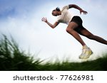 Running across Field - stock photo