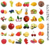 fresh fruit collage on white... | Shutterstock . vector #776271775