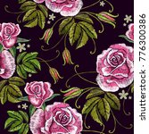 embroidery roses seamless... | Shutterstock .eps vector #776300386