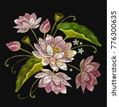 embroidery lotus flowers.... | Shutterstock .eps vector #776300635