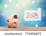 happy new year with a pig as... | Shutterstock . vector #776306872