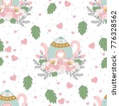 seamless pattern with valentine'... | Shutterstock .eps vector #776328562