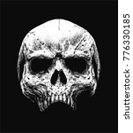 skull hand drawn vector isolated | Shutterstock .eps vector #776330185