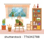 art studio interior colorful... | Shutterstock .eps vector #776342788