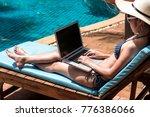 beautiful woman using laptop...   Shutterstock . vector #776386066