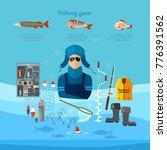 winter fishing  rod  hooks ...   Shutterstock .eps vector #776391562