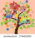 bright cute cartoon owls sit on ...   Shutterstock .eps vector #776401852