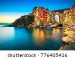 riomaggiore town  cape and sea...   Shutterstock . vector #776405416