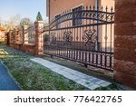 iron fence with iron gate | Shutterstock . vector #776422765