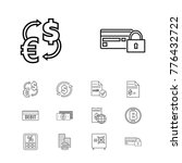 banking icons set with money...