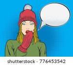 beautiful blond woman in red... | Shutterstock .eps vector #776453542