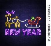 happy new year 2018. reindeer... | Shutterstock .eps vector #776465632